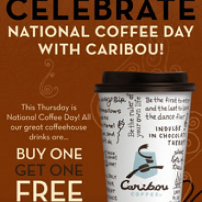 Free Coffee:  Celebrate National Coffee Day at Caribou Coffee