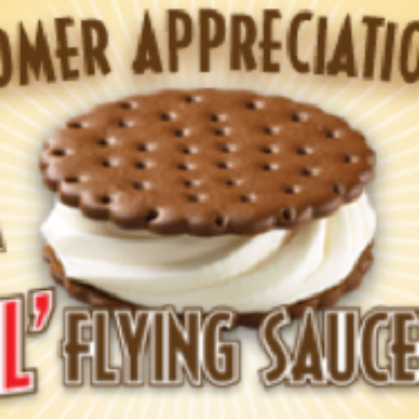 Carvel Free Lil Flying Saucer Ice Sandwich Today Only