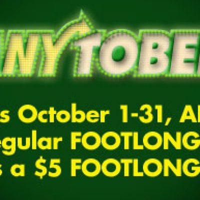 Subway & Anytober Day $5.00 Subs