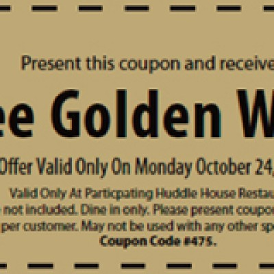 Free Golden Waffle From Huddle House (One Day Only)