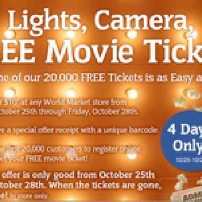 World Market Free Movie Ticket Offer