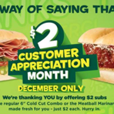 Subway $2 6-Inch Subs