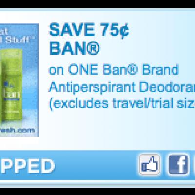 Ban Deodorant Coupon