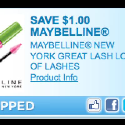Save $1 on Maybelline Mascara