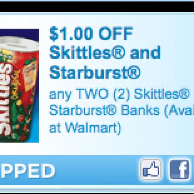 """""""New"""" Skittles or Starburt Bank Coupon"""