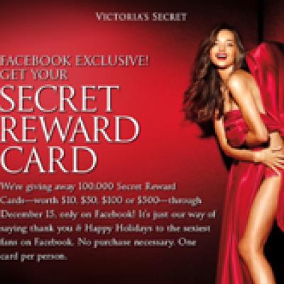 Victoria Secrets Facebook Exclusive! Secret Reward Card