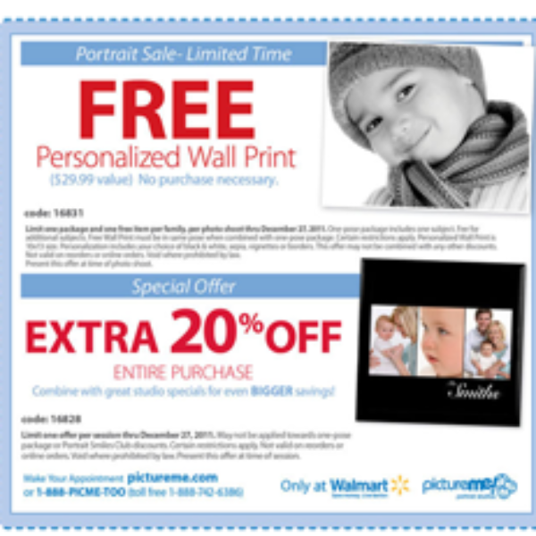 Free Personalized Wall Print from Walmart PictureMe Portrait Studios
