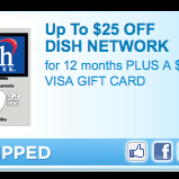 Save $25 on Dish Network/Get $75 Visa Card