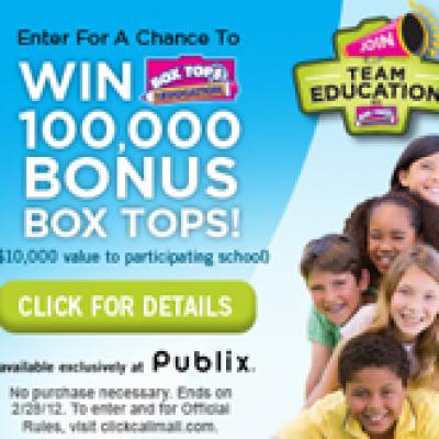 General Mills & Publix Return to School win 100,000 box tops.