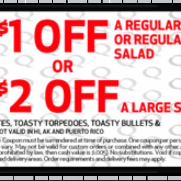 Quiznos Regular Sub Or Salad Coupon