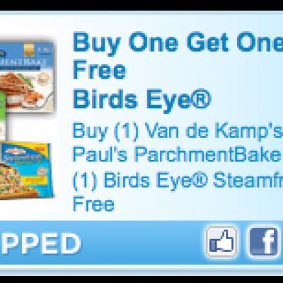 BOGO Van de Kamp's or Mrs Paul's get Birds Eye Free