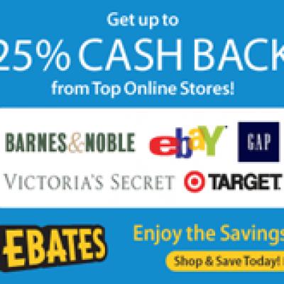 Shop Ebates Get 25% Cash Back From Top Online Stores