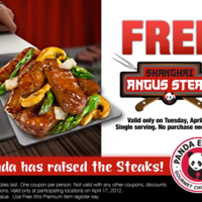 Free Shanghai Angus Steak at Panda Express on 04/17/12