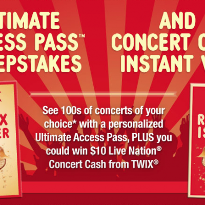 Twix Ultimate Access Pass Sweepstakes + Concert Cash Instant Win Game