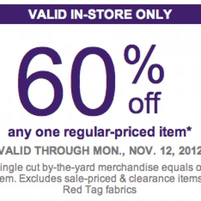 Joanne Fabrics: 60% Off One Item - Expires 11/12