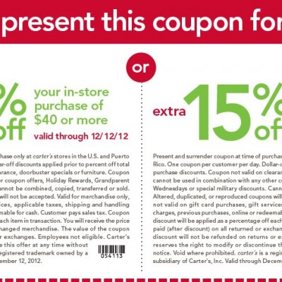 Carter's 15% Off In-Store Purchase