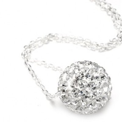 Diamond Color Crystals Ball Pendant + Chain Only $0.01
