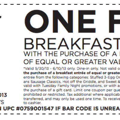 Bob Evans: Free Breakfast Entree W/ Purchase