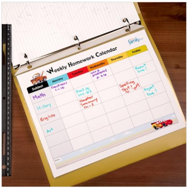 Free Cars Homework Calendar Download