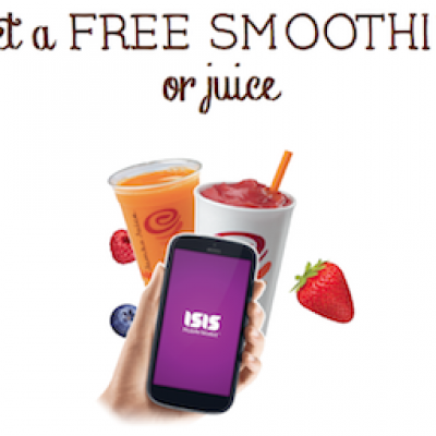 Jamba Juice: Free Juice or Smoothie When You Pay W/ Isis
