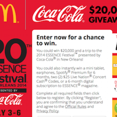 McDonald's & Coca-Cola: $20,000 Essence Festival Giveaway