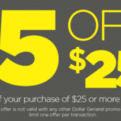 Dollar General: $5 Off $25 - Today Only!