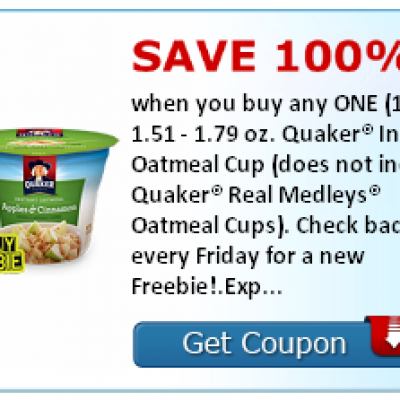Hot!!! SavingStar Friday Freebie: Free Quaker Instant Oatmeal Cup