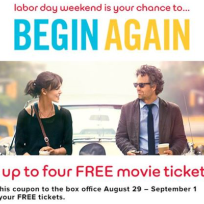 Free Begin Again Movie Tickets