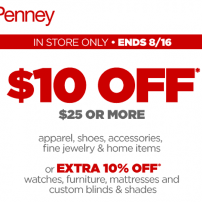 JCPenney: $10 Off $25 In-Store