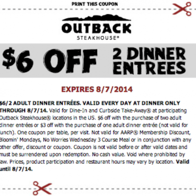 Outback Steakhouse: $6 Off (2) Entrees
