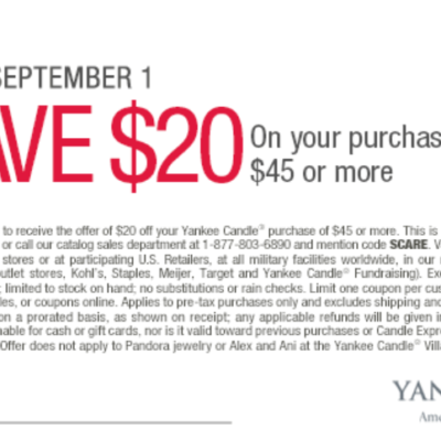 Yankee Candle: $20 Off $45 Or More