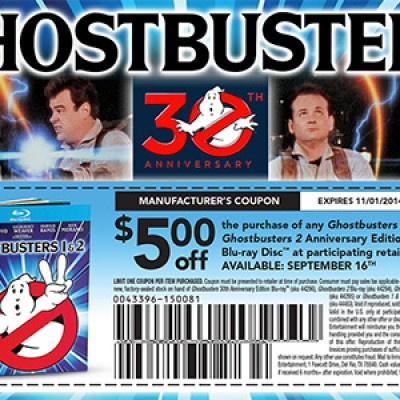 Ghostbusters Blu-Ray $5.00 Off Coupon