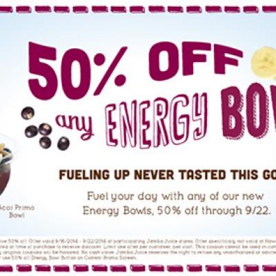 50% Off Energy Bowls @ Jamba Juice