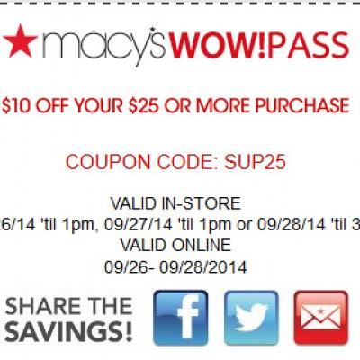 Macy's $10 Off $25 On 9/27 & 9/28