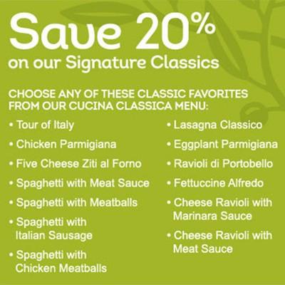 Olive Garden: 20% Off Signature Classics - Expires 9/14