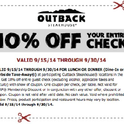 Outback Steakhouse: 10% Off Your Entire Check