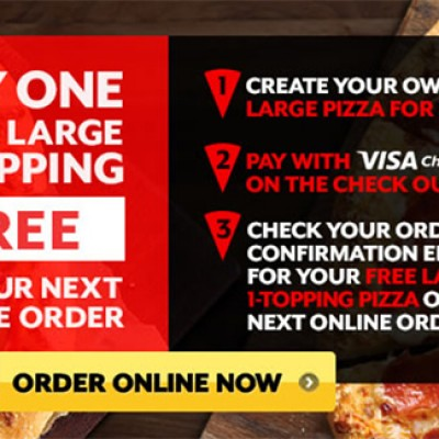 BOGO Free Large One-Topping Pizza @ Pizza Hut W/ Visa Checkout