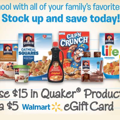 Free $5 Walmart eGift Card W/ $15 Quaker Purchase - Ends 9/30