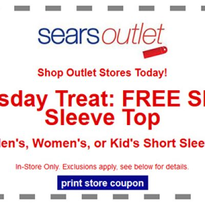 Sears Outlet Tuesday Treat: Free Short Sleeve Top on 9/30