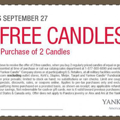 Yankee Candle B2G2 Candles Coupon - Ends 9/27