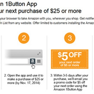 Amazon: $5 Off $25 Purchase With 1Button App