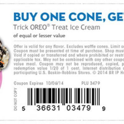Baskin Robbin's: BOGO Oreo Treat Cone