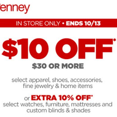 JCPenney: $10 Off $30 In-Store - Expires 10/13