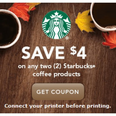 Starbucks $4.00 Off Any Two (2) Coffee Products