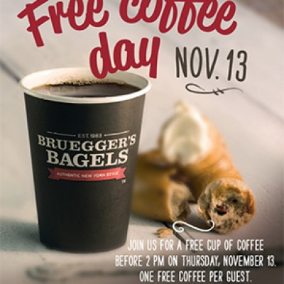 Bruegger's Bagels: Free Coffee Day On Nov. 13th