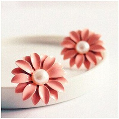 Pink Daisy Flower Earrings Only $1.99 + Free Shipping