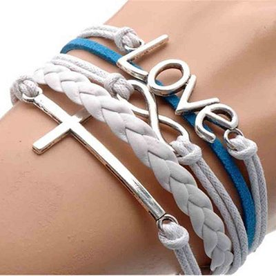 Silver Infinitity Love Leather Bracelet Just $1.06 + Free Shipping