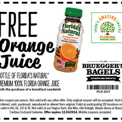 Bruegger's Bagels: Free Orange Juice With Purchase