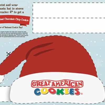 Great American Cookies: Wear Santa Hat For A Free Cookie - Today Only
