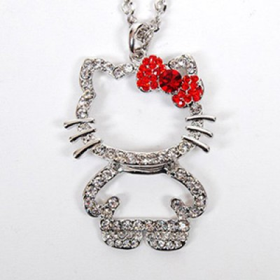 Hello Kitty Rhinestones Pendant & Chain Just $2.74 + Free Shipping